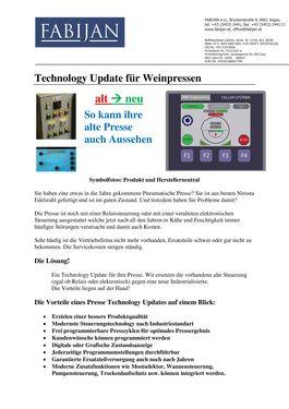 Sonstige Technology Update für Traubenpressen