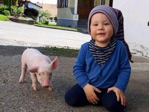 Sebastian mit seinem kleinen Freund.